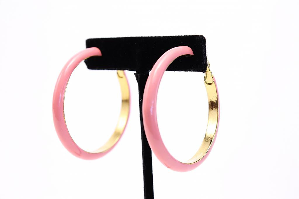 Vintage KENNETH JAY LANE Pink Hoop Earrings