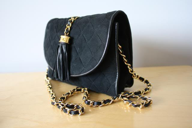 Vintage Mid 80's CHANEL Black Suede Quilted Flap Tassel HandBag w/ Suede & Chain Shoulder Strap, Quilted CC, Converts to Clutch