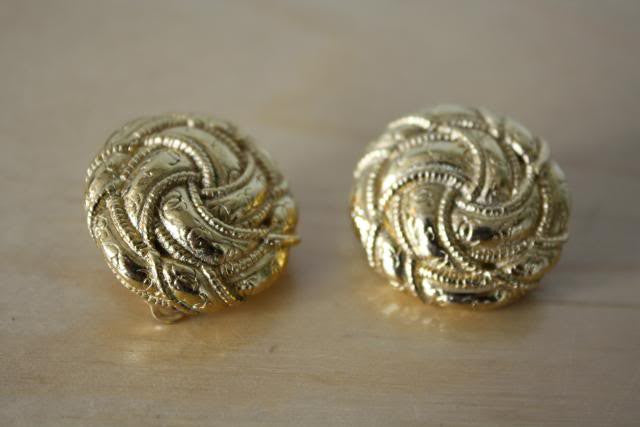 "Vintage CHANEL Gold Plated Round ""Knot"" Earrings with CC's"