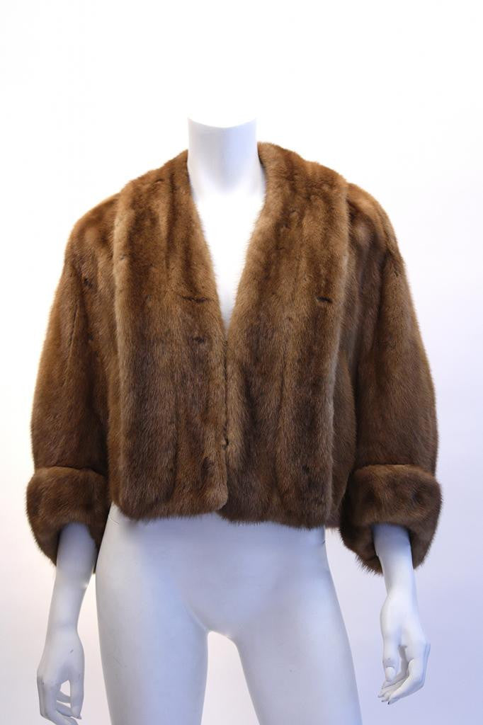 Vintage Light Brown Mink Short Coat/Cape