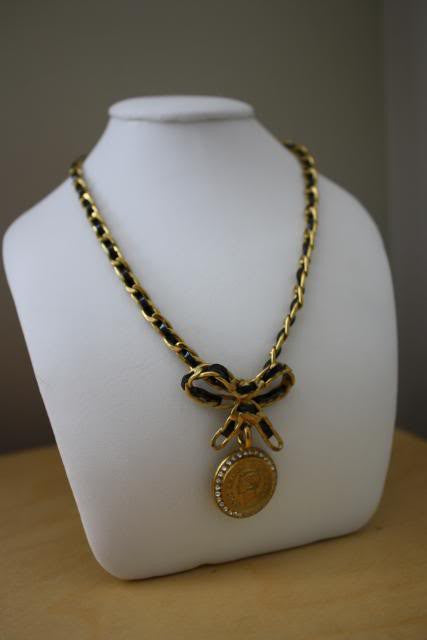 '95P CHANEL 24K Gold Plated Chain Link & Patent Leather Bow Necklace with COCO CHANEL Rhinestone Medallion & Box