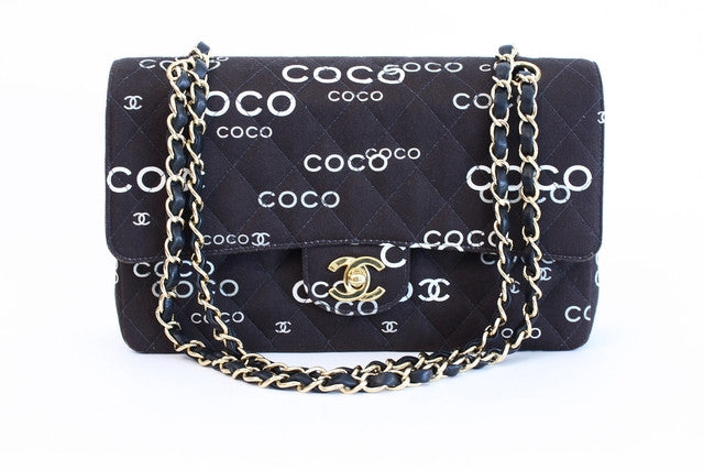 Vintage Chanel Double Flap Coco Print Bag