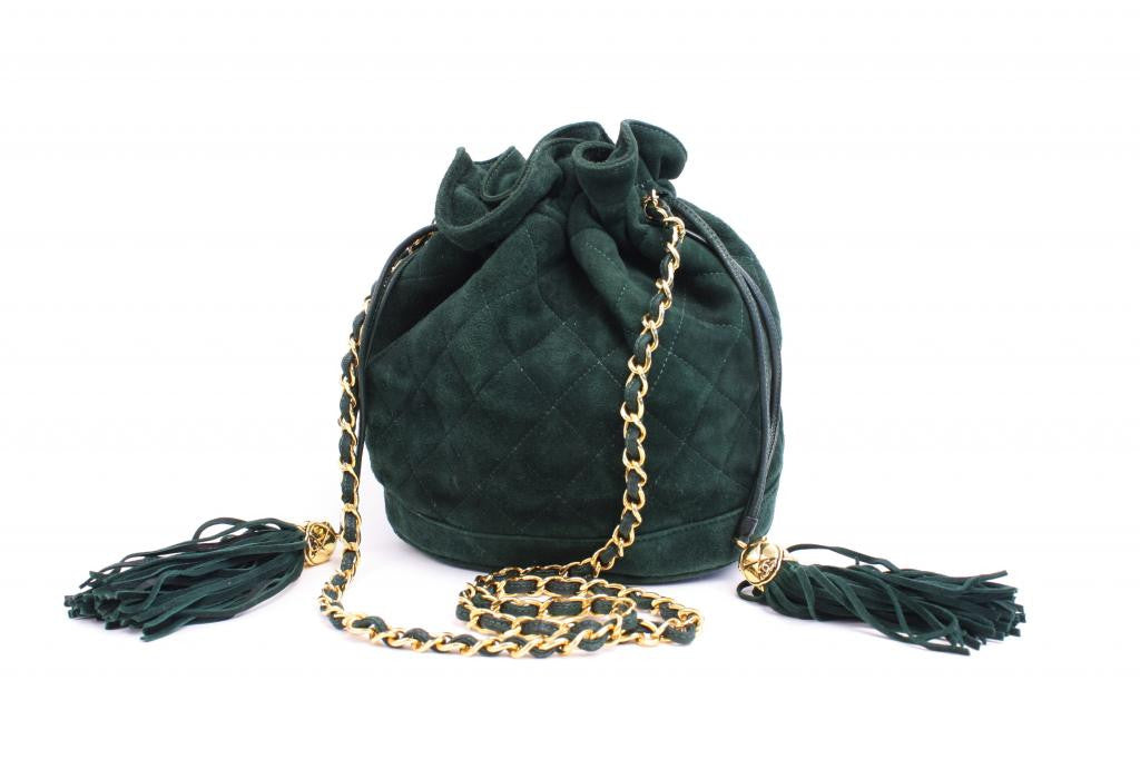 Vintage Chanel Green Drawstring Handbag