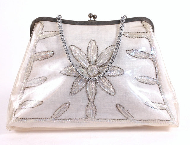 Vintage 60's White Top Handle Bag