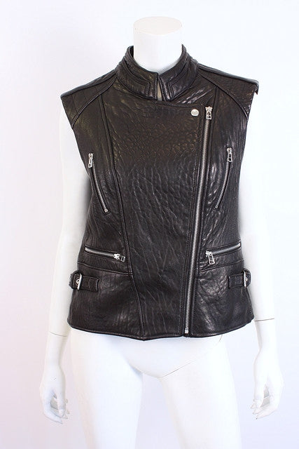 Dawn Levy Leather Moto Jacket Vest