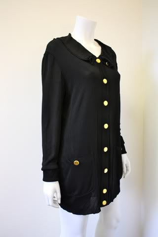 Vintage Chanel Black Silk Cardigan Sweater Dress With 13 Hammered Gold