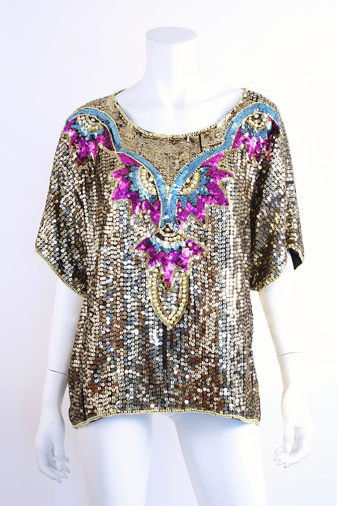 Vintage Silk & Sequin Dragon Shirt