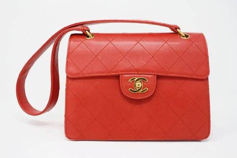 Rare Vintage CHANEL Red Caviar Leather Flap Bag
