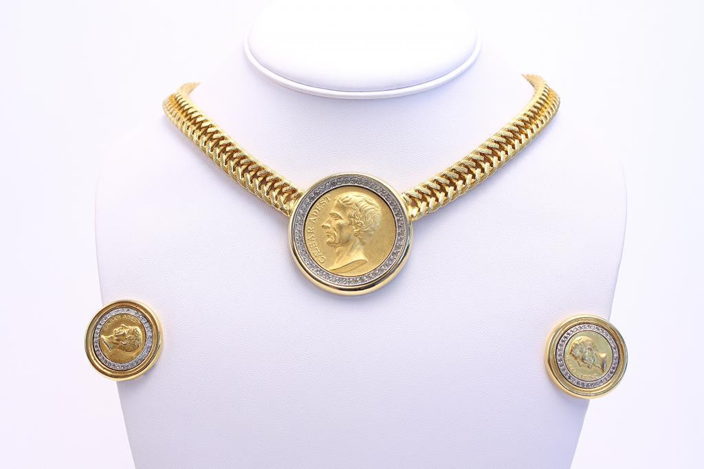 Vintage BEN-AMUN Gold Coin Necklace & Earrings