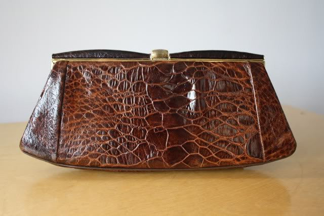 Glamorous Vintage 50's Brown Turtle Skin Clutch