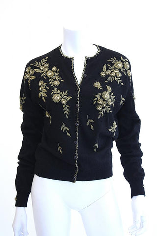 1950s PRINGLE Beaded Cashmere Cardigan