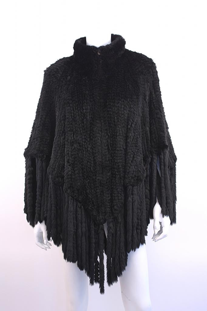 Vintage Woven Black Rabbit Fur Cape Coat w/Fringe