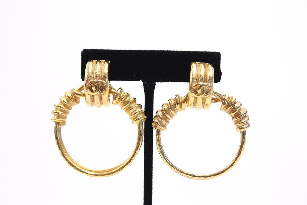 Vintage CHANEL Gold Hoop Earrings