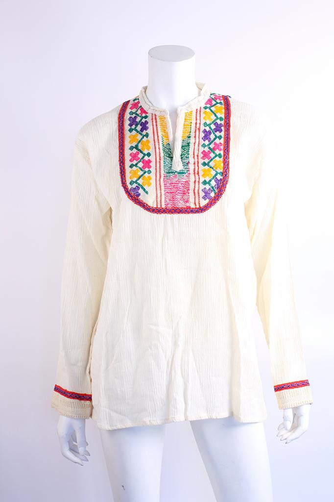 Vintage 70's Cotton Embroidered Blouse