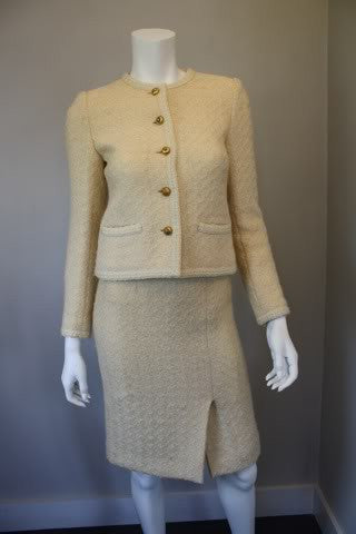 Vintage 80'S CHANEL Cream Boucle Wool Jacket & Skirt Suit with Lion Head Buttons