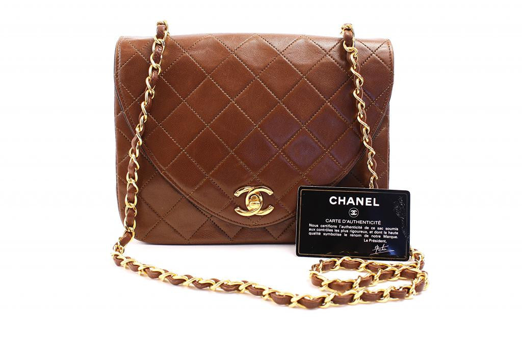 Vintage Chanel Brown Quilted Flap Handbag