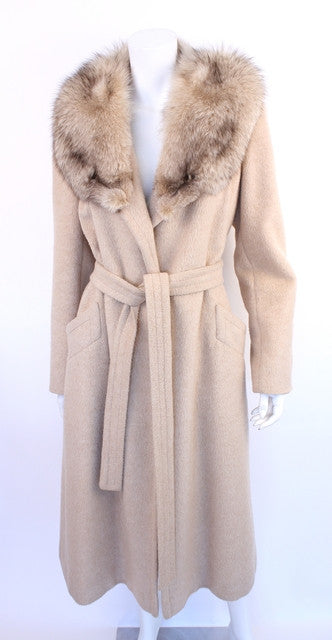 Vintage 70's Wrap Coat with Fox Fur Collar