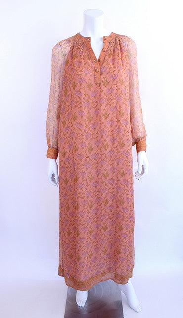 Vintage 70's Treacy Lowe Chiffon Bohemian Dress