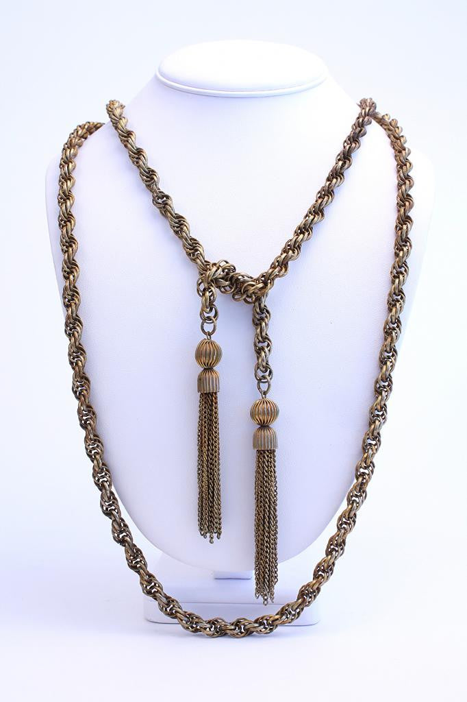 Vintage Metal Chain Necklace with Tassels