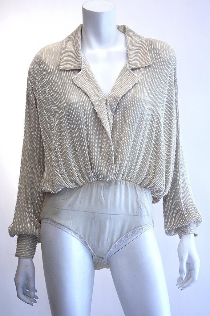 Vintage DONNA KARAN Beaded Silk Bodysuit