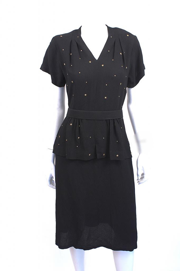 Vintage 40's Crepe Peplum Dress with Stars