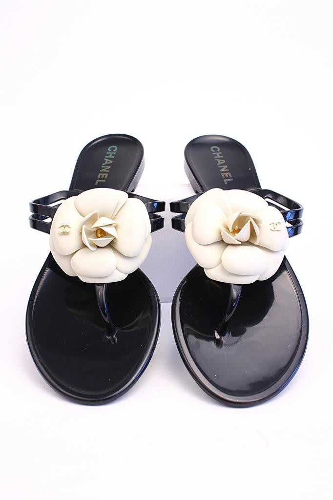 Chanel Black Cemellia Jelly Sandals