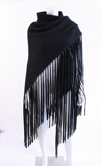 Vintage Hermes Cashmere Leather Fringe Shawl