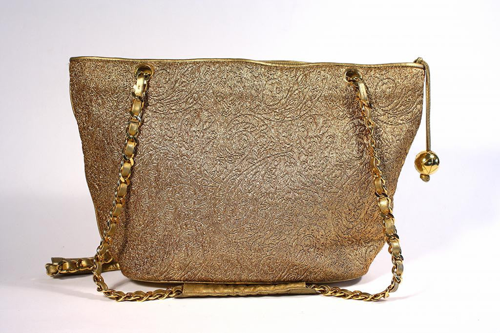 Vintage Chanel Gold Leather Tote Bag