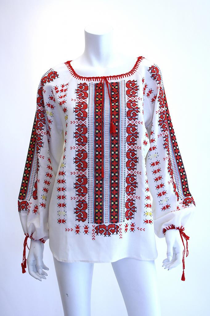1970's Bohemian Hand Emroidered Peasant Blouse