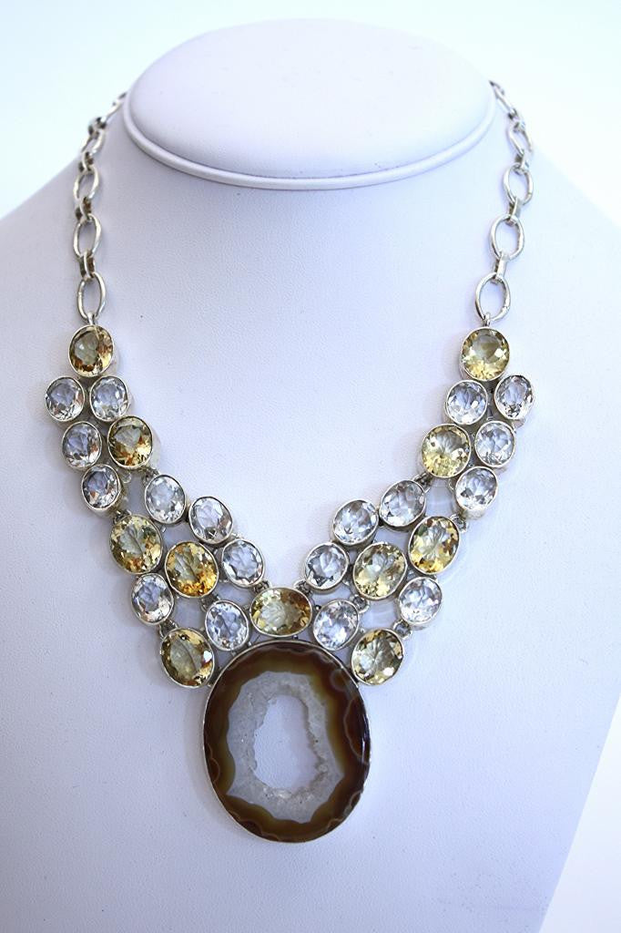 Semi-Precious Stone & Geode Necklace