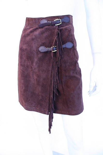 Vintage Suede Skirt with Fringe