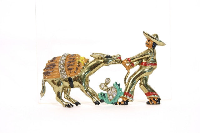 Vintage Enamel & Rhinestone Man with Donkey Pin