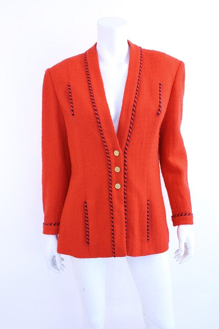 Vintage Chanel Red Boucle Jacket
