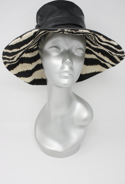 Vintage 70's Leather & Zebra Hat