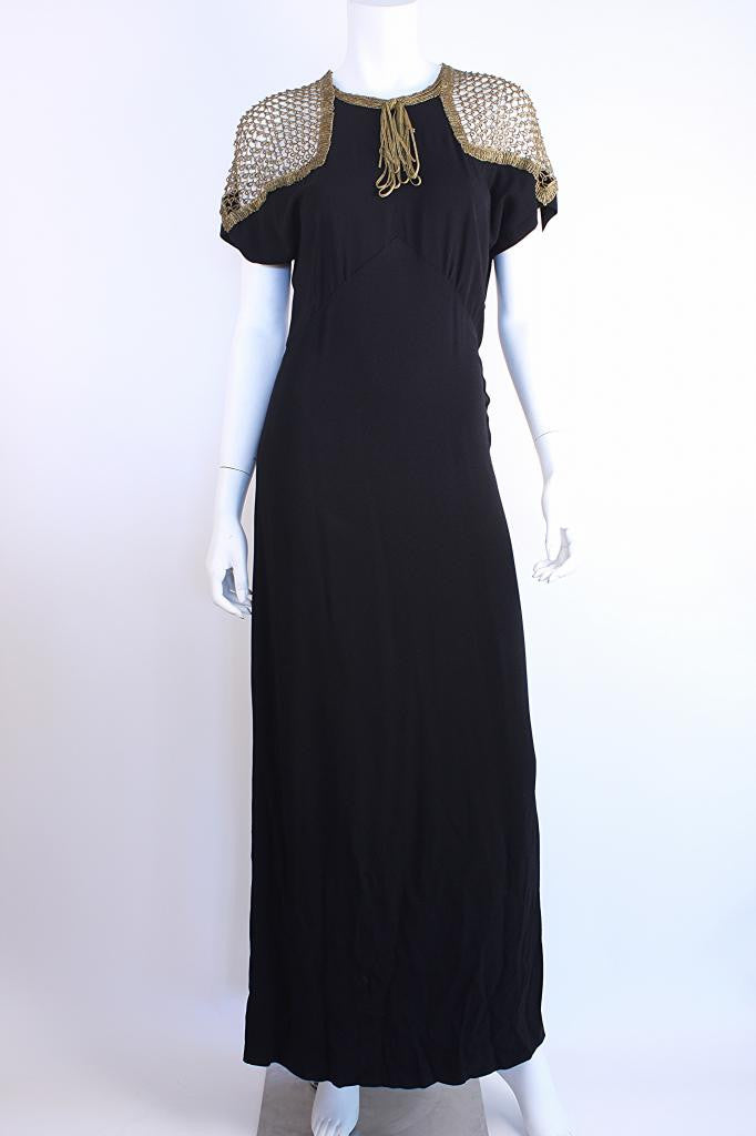 Vintage 40's Crepe Dress w/Gold Crochet