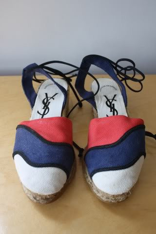 Vintage 70's YVES SAINT LAURENT Red, White, & Blue Espadrille Wedges, Size 38