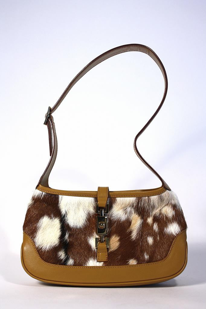 GUCCI Fur & Leather Handbag