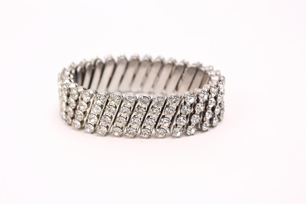 Vintage RHINESTONE Accordion Bracelet