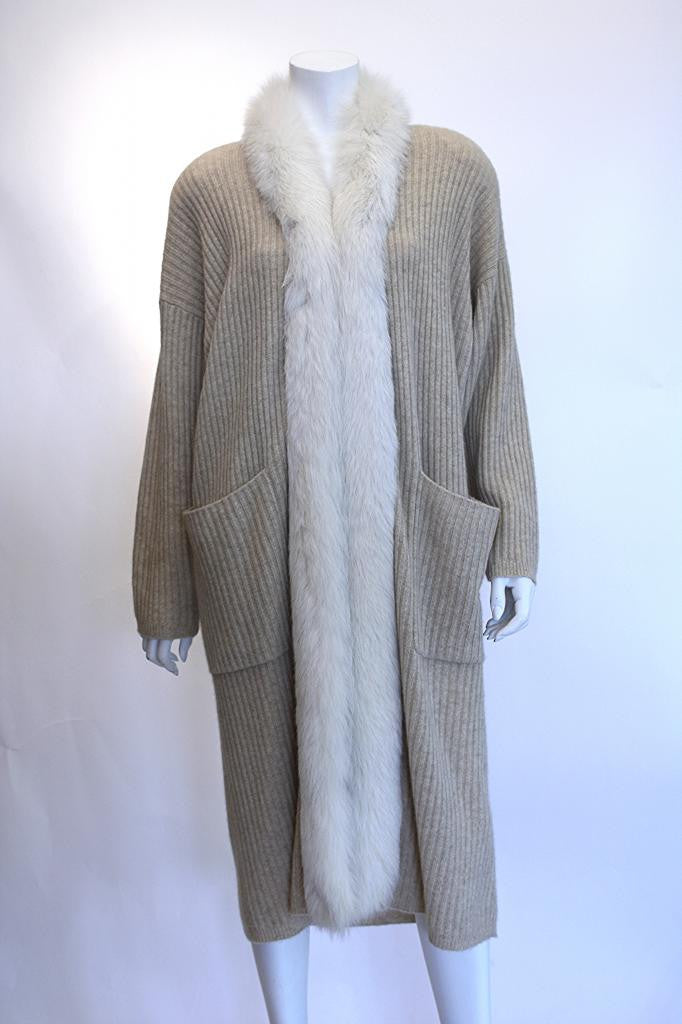 Vintage 80's Wool & Cashmere Sweater Coat w/Fox Fur