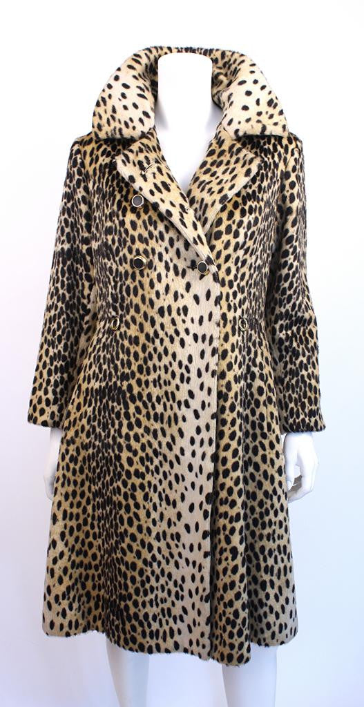 Vintage 60's Safari Faux Leopard Fur Coat