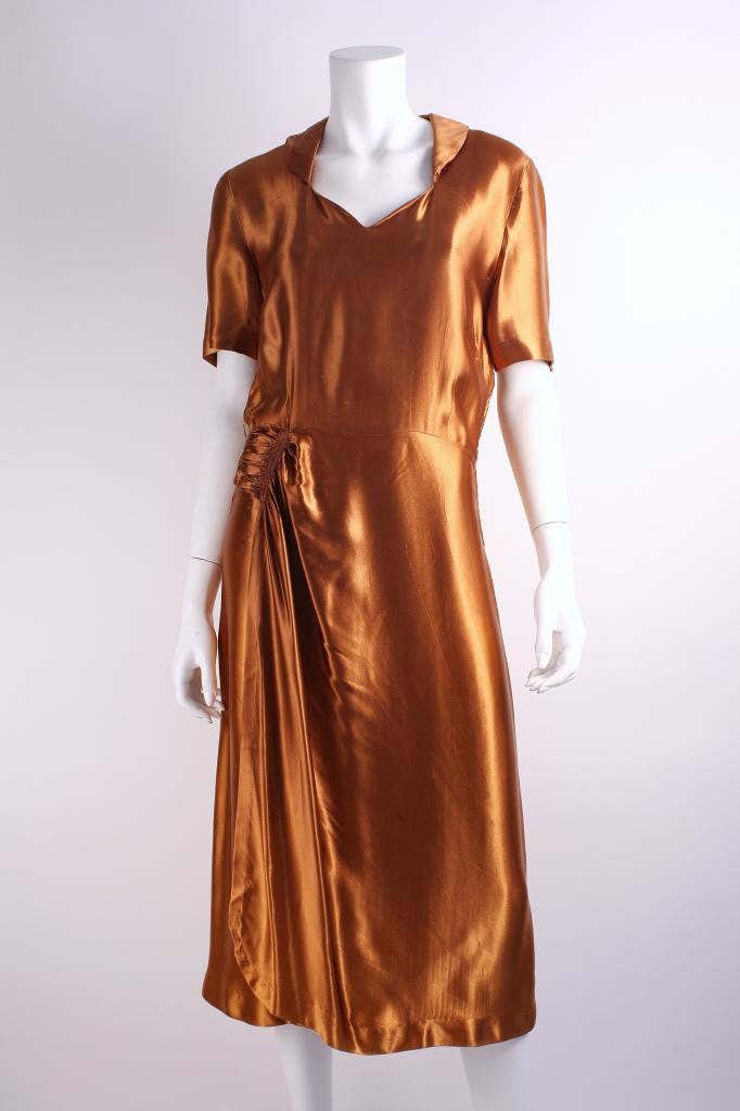 Vintage 40's Bronze Satin Dress