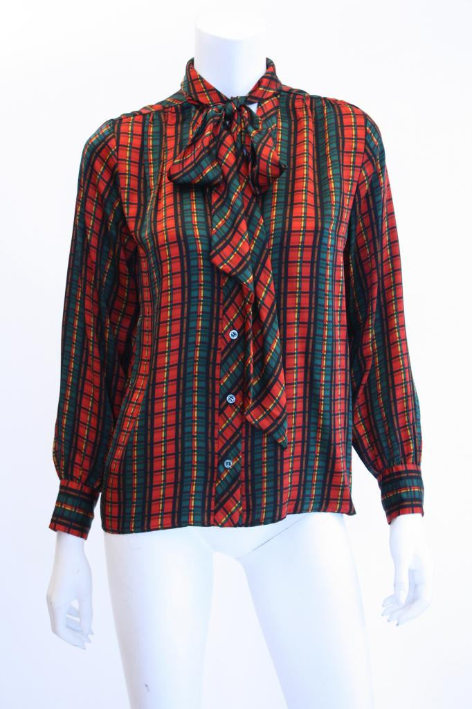 1980s YVES SAINT LAURENT Plaid V-Neck Blouse