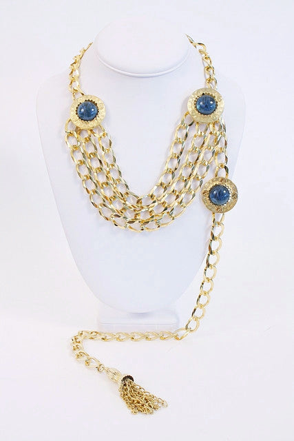 Vintage St. John Chain Medallion Necklace Belt