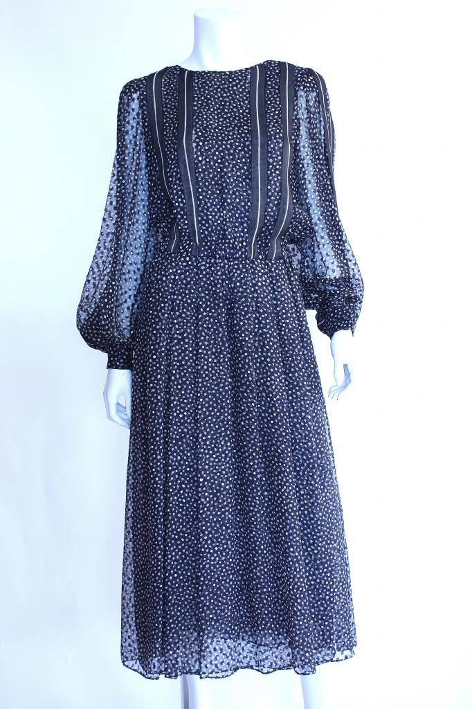 Vintage 70's GALANOS Polka Dot Maxi Dress