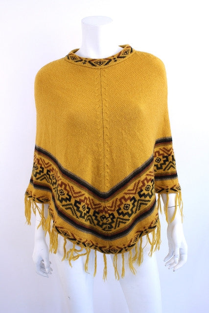 Vintage 70's Wool Bohemian Fringed Poncho