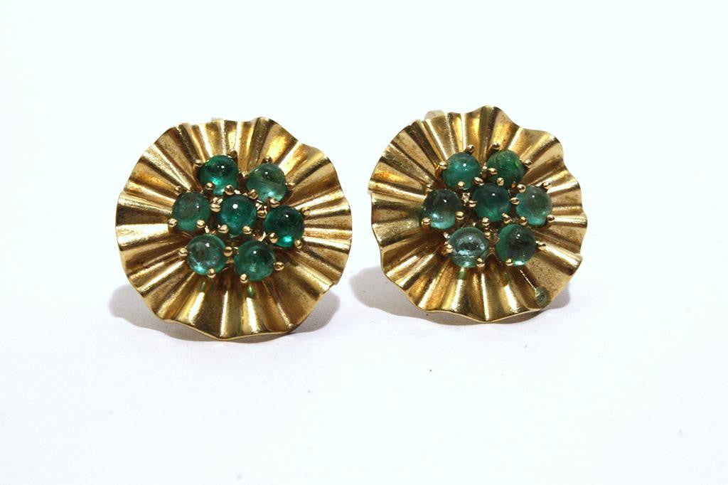 1940s TRABERT HOEFFER MAUBOUSSIN Gold and Emerald Earrings