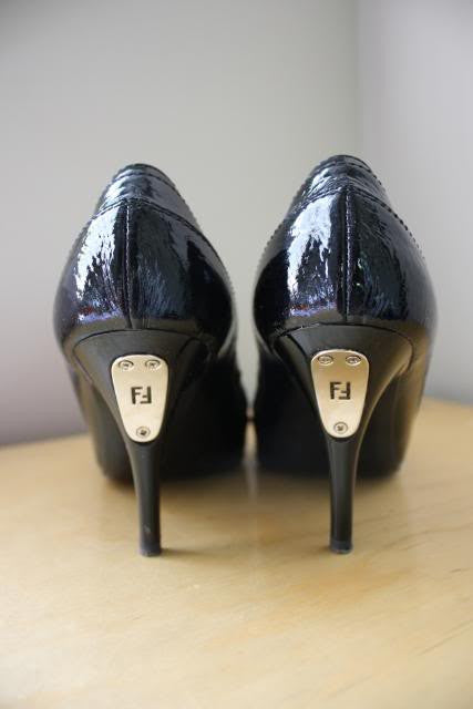 FENDI Black Patent Leather Pointy Toe Pumps with Silver FENDI Nameplate Heels with Dustbag & Box, sz 36.5