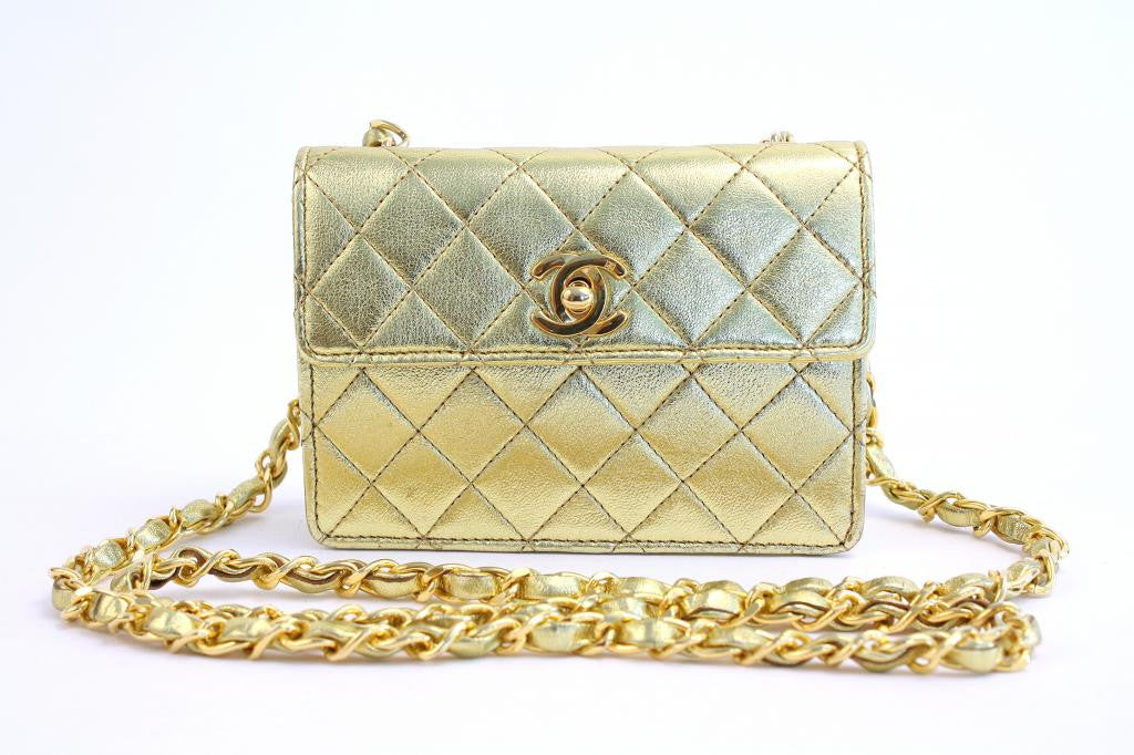 Vintage Chanel Gold Mini Flap Handbag