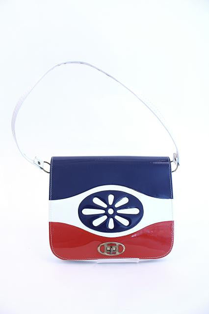 Vintage 70's Red White Blue Handbag