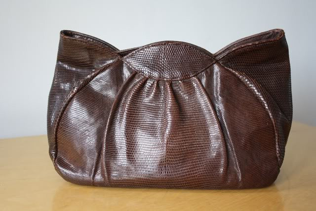 Vintage 40's Brown Lizard Scalloped Clutch